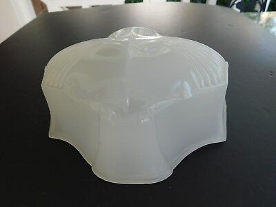 """Vtg Rare Art Deco White Frosted Glass Bathroom Light Over Sink 8"""" Wide Shade"""