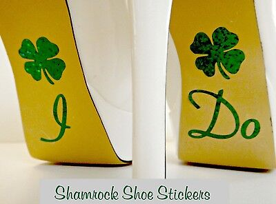 Wedding Shoe Stickers Lucky Shamrock Wedding Bridal Shoe Decals Irish Wedding