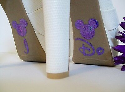 Disney Inspired Wedding I Do Shoe Stickers Purple Mickey Great Bridal Photo Op