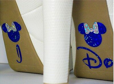 Disney Inspired Wedding I Do Shoe Stickers Mickey + Minnie Blue With Silver Bow