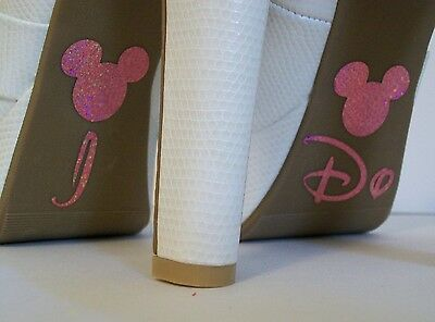Disney Inspired Wedding I Do Shoe Stickers Pink Mickey Great Bridal Photo Op