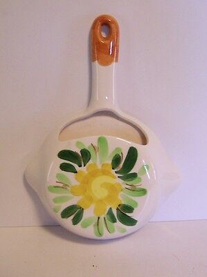 Ceramic Frying Pan Wall Pocket Planter Flower Vintage Decor Inarco Japan White