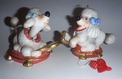 2 Darling Vintage Poodle Dog  Christmas Ornaments - 1 Bobblehead & 1 w Mirror