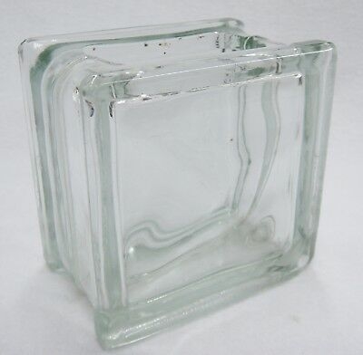Vintage Glass Block Vase Green Tint Made in West Germany 4.5 Inch Architectural