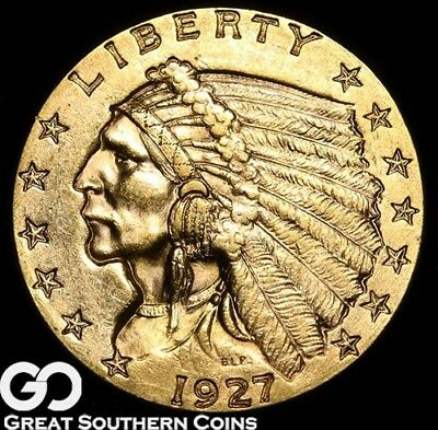1927 Quarter Eagle, $2.5 Gold Indian, Very Nice Solid Gem BU++ ** Free Shipping!