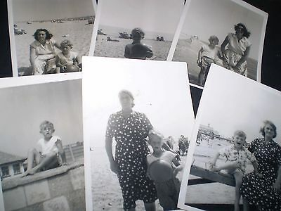 social history 1950's cute little boy at the seaside six photographs  5'inch