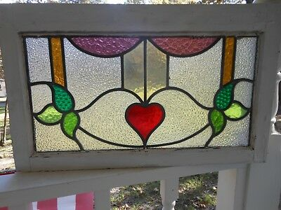 MA12-342 Lovely Transom Style Leaded Stained Glass Window From England
