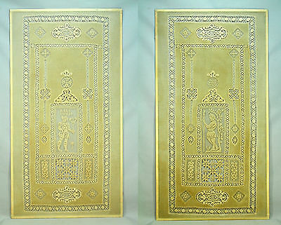 * Antique Victorian Pair Large Cotton Needle Lace Window Panels