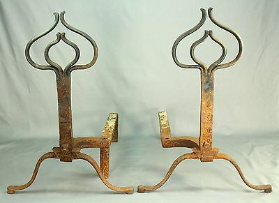 !Antique American Wrought Iron Pair Fireplace Andirons, Marked W.H.SEXTON