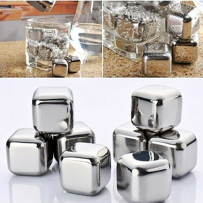 8x 2.5cm Stainless Steel Whiskey Stones Ice Cubes Glacier Rocks Chillers Freezer