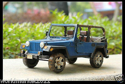 Archaized L40*W18.5*H18CM Blue Iron Car Model Decoration/Photography Props