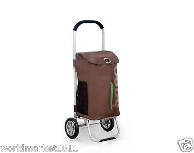 %H Convenient Brown Pattern Two Wheels Collapsible Shopping Luggage Trolleys