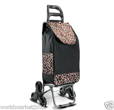 Convenient Steel Black Pattern Six-Tire Collapsible Shopping Luggage Trolleys