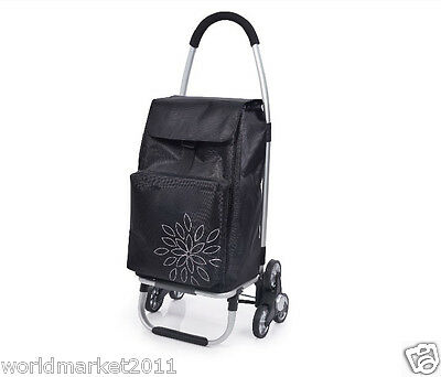 %HNew Convenient Black Pattern Six-Tire Collapsible Shopping Luggage Trolleys