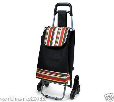 %HConvenient Stripe Black Pattern Six-Tire Collapsible Shopping Luggage Trolleys
