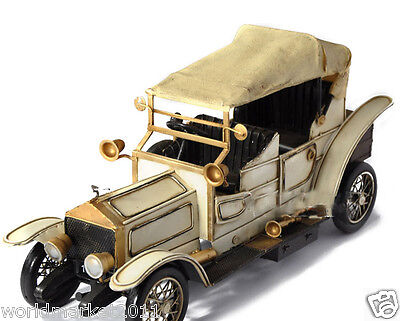 * European Archaized Beige Metal Rolls-Royce Tarpaulin Trucks Vintage Car Model