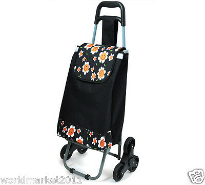 New Convenient Sunflower Pattern Six-Tire Collapsible Shopping Luggage Trolleys