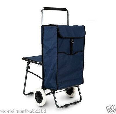 Navy Blue Chair Two Wheels Convenient Collapsible Shopping Luggage Trolleys