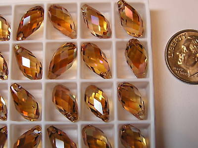 72 Pieces Swarovski Pendants/beads #6010 13X6.5Mm Crystal Copper