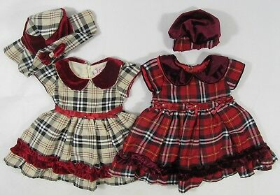 Baby Babies Girls Beige Red Bow Velvet Tartan Check Hat Party Formal Dress 0-24