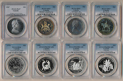 8 Canada Silver Dollars (1967-1990) Pcgs Proofs Specimens Prooflike > No Rsrv