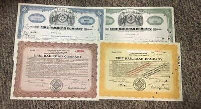 Lot of 4 different   Stock certificates Erie Railroad Company 1942-(2) 1950-1955