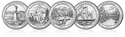 2011 P&D Set American Beautiful National Park Quarters 10  Quarters US Mint sets
