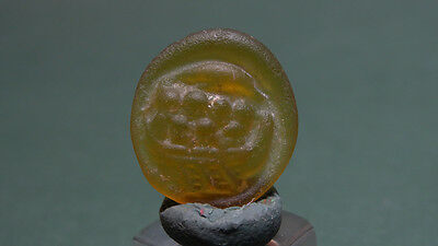 Ancient Glass Medallion Ship Image Byzantine 400-600 Ad