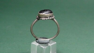 ANCIENT SILVER RING WITH GLASS INTAGLIO ROMAN  BYZANTINE 3rd - 5th CENTURY AD