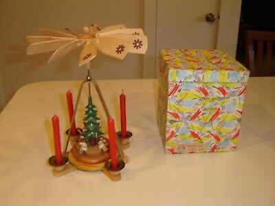Vintage small wood Christmas Windmill Carousel with Candles