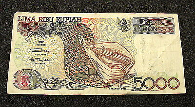 1992~~Bank Indonesia~~~5000 Rupiah Currency Note---Circulated---free ship