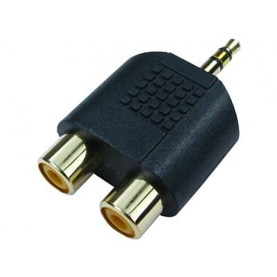 3.5mm Jack to 2 RCA Twin Phono Adaptor Y Splitter Stereo Male 2 x Female GOLD