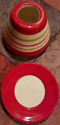 Celebrating Home Stoneware Winter Joy Candle Shade & Plate Set NEW in Box 93389