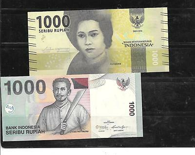 Indonesia 2 Different Unc Banknote Paper Money Currency Bill Note Lot Collection