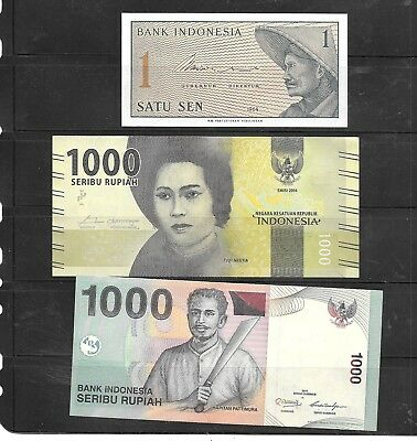 Indonesia 3 Different Unc Banknote Paper Money Currency Bill Note Lot Collection