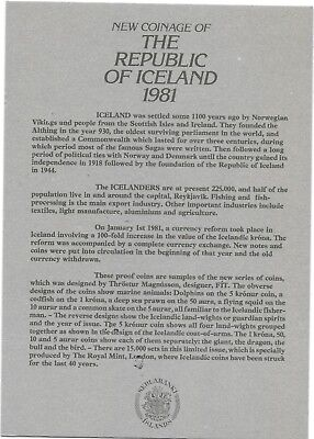 1981 Iceland 5 Coin C.O.A. Document~No Coins~Free Shipping