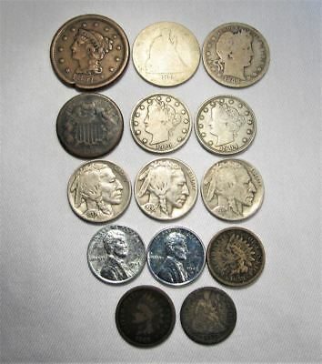 Vintage US Coin Lot 14pc Large Indian Steel Liberty Seated Silver Barber C665