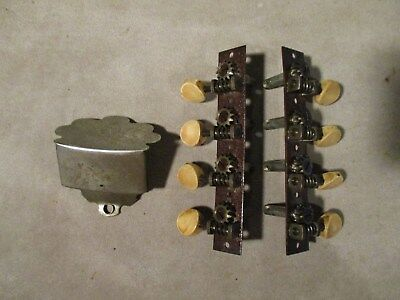 Engraved Nickel-Plated Brass Mandolin Tailpiece & Set of Tuners