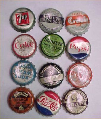 12 Vintage Antique Bottle Caps Soda Pop Big Chief Pepsi Orange Squirt Coke Cork
