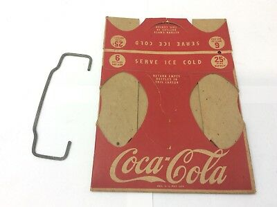 1950's Coca Cola Cardboard Carton w/ Metal Handle For Bottles Never Used