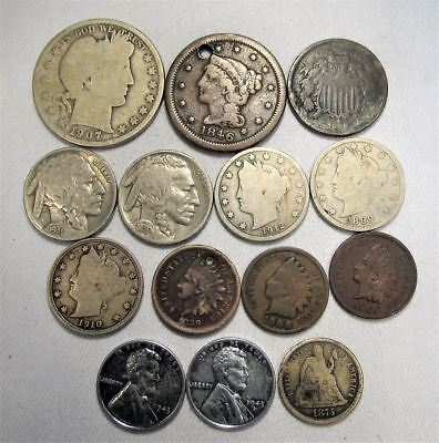 Vintage US Coin Lot 14pc Large Indian Steel Liberty Silver Seated Barber C680