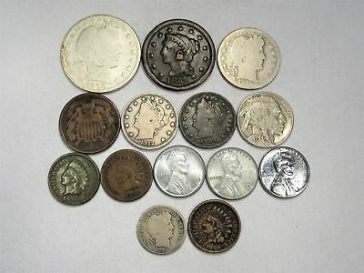 Vintage US Coin Lot 14pc Large Indian steel Liberty Buffalo Silver Barber C675