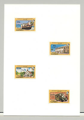 Gambia #585-588 Fishermen, Boat, School, Cathedral 4v Imperf Proofs on Card
