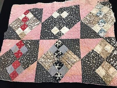 Antique/vintage Hand Quilted Early Four Patch Variation Cutter Quilt Piece
