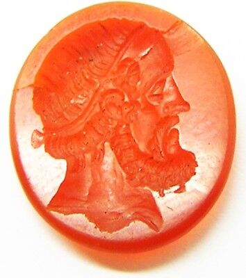 Wonderful Ancient Roman Carnelian Portrait Intaglio c. 2nd century A.D. for Ring
