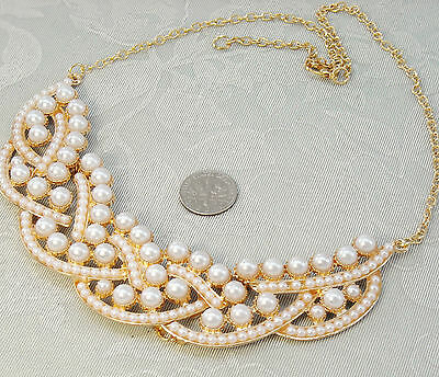 "FREE SHIP Lovely Faux Pearl Fashion Necklace 18"" + 2""  Gold tone"