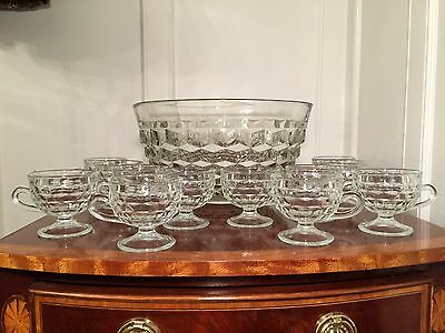 Vintage INDIANA GLASS Whitehall American Punch Bowl & 12 Footed Cups & Hooks EUC