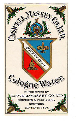 1900s CASWELL - MASSEY CO, NEW YORK CHEMISTS & PERFUMERS COLOGNE WATER LABEL