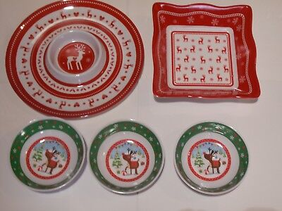 5 x Christmas Dishes,Wave Shaped Bowl,Round Chip 'n' Dip Plate,3 Pic & Mix Bowls
