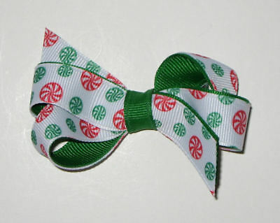 Custom Boutique Christmas Holiday Peppermint Candy Makena Girls Hair Bow